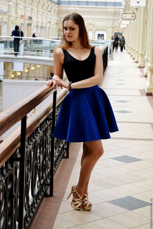 Юбки ручной работы. Ярмарка Мастеров - ручная работа. Купить Стильная юбка из неопрена. Handmade. Синий, подружка, весна