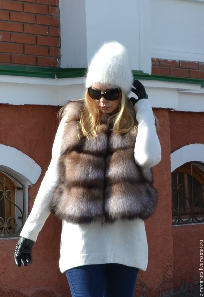 Vest of black Fox (color 'Blonde') transverse layout, Vests, Omsk,  Фото №1