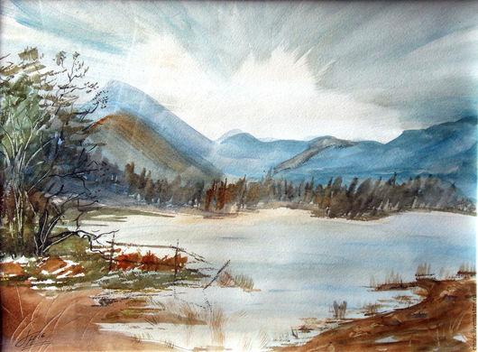 """Пейзаж ручной работы. Ярмарка Мастеров - ручная работа. Купить Акварель """"Горное озеро"""". Handmade. Коричневый, озеро, озеро в горах"""