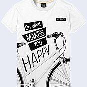"""Одежда ручной работы. Ярмарка Мастеров - ручная работа Мужская футболка """"Велосипед"""". Handmade."""
