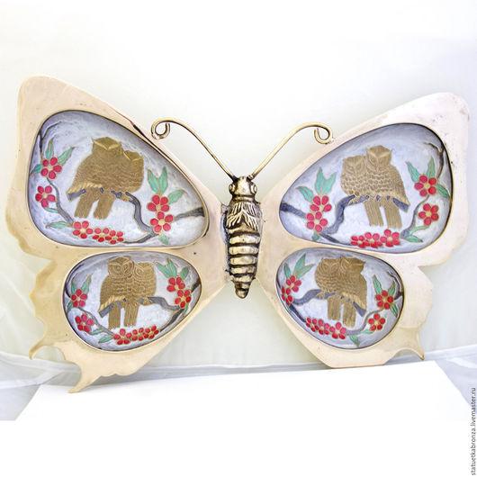 Винтажная посуда. Ярмарка Мастеров - ручная работа. Купить Менажница Бабочка 34 см. Handmade. Золотой, винтажная посуда, для печенья
