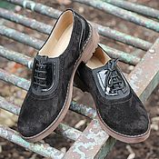 Обувь ручной работы handmade. Livemaster - original item Shoes made of natural suede with leather lacquer Women`s Oxford Black. Handmade.