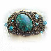 Hard bracelet handmade. Livemaster - original item Wide black bracelet. Green-blue chrysocolla, malachite, turquoise. Handmade.