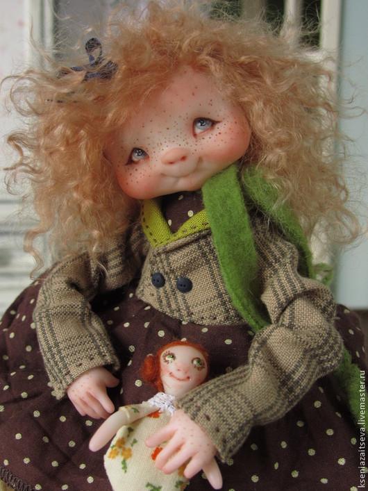 """Коллекционные куклы ручной работы. Ярмарка Мастеров - ручная работа. Купить """"Бритти"""". Handmade. Коллекционная кукла, веснушки, шёлковая лента"""