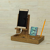 Для дома и интерьера handmade. Livemaster - original item Stand-organizer for phone made of oak. Handmade.