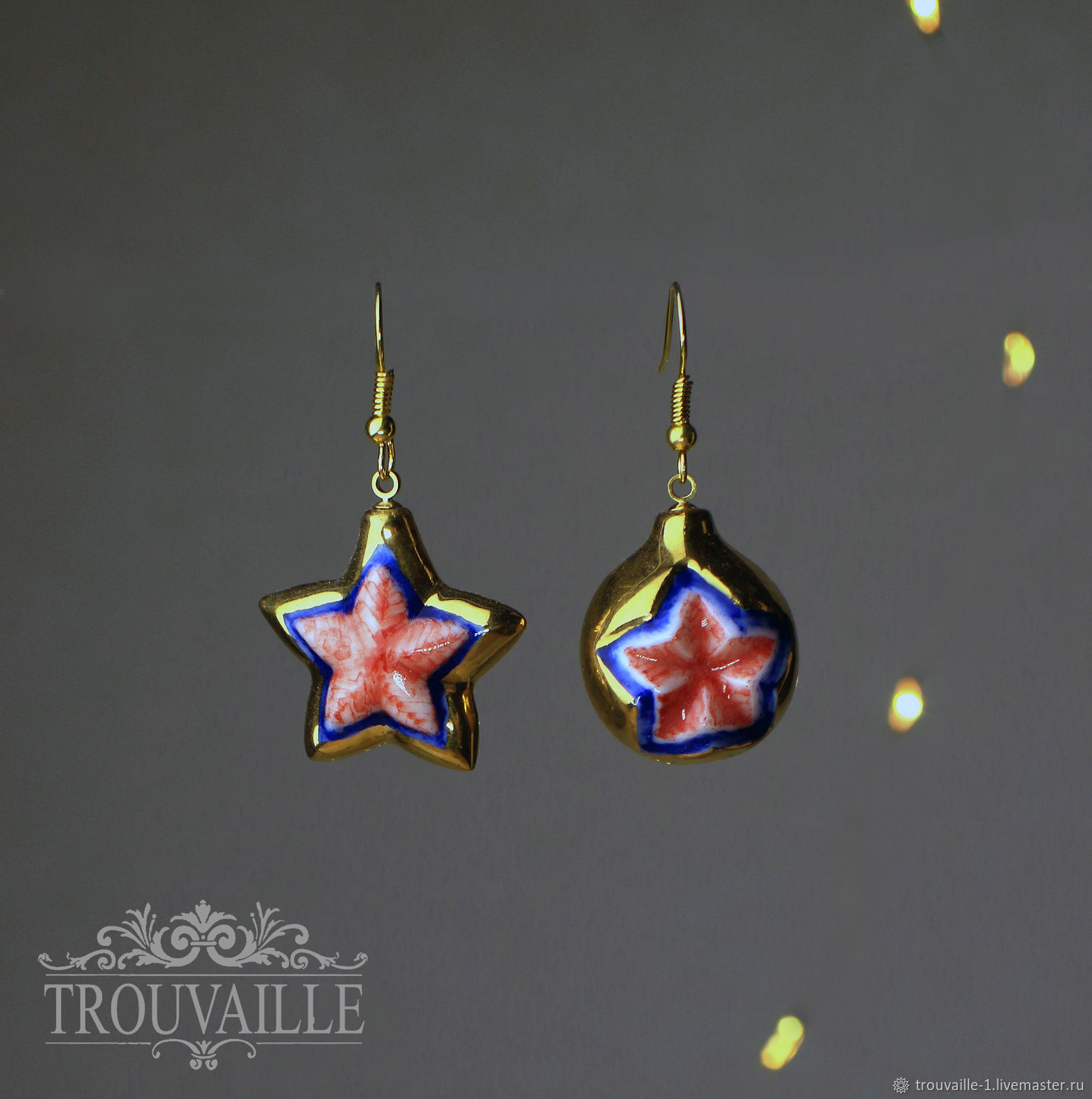 Earrings classic: Red star (gold), Earrings, Rostov-on-Don,  Фото №1