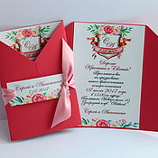 """Свадебный салон ручной работы. Ярмарка Мастеров - ручная работа """"Семейный герб-монгорамма"""" - приглашение с инициалами в красном цвете. Handmade."""