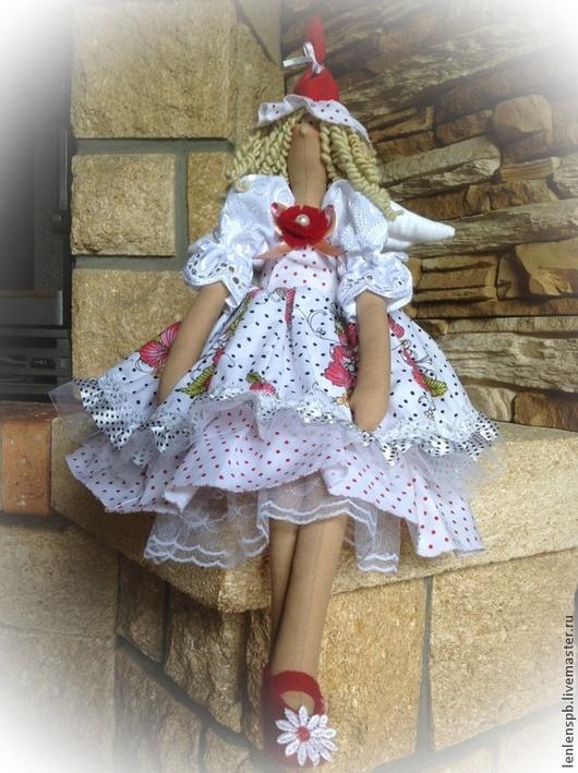 Куклы Тильды ручной работы. Ярмарка Мастеров - ручная работа. Купить Мадам Горошкина -ангел летнего настроения. Handmade. Белый