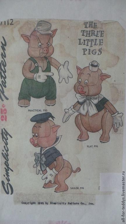 Шитье ручной работы. Ярмарка Мастеров - ручная работа. Купить Выкройка антикварная-3 поросенка (1945 г.) 55, 62, 65 см. Handmade.