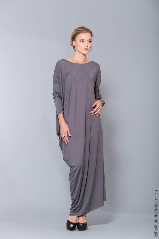 Платья ручной работы. Ярмарка Мастеров - ручная работа. Купить Платье 1518V. Handmade. Серый, платье в пол, платье для женщины