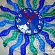 """Часы для дома ручной работы. Заказать Часы по мотивам работы """"Голубая лагуна"""" из стекла. Фьюзинг.. Наталья Плетенева  ФЬЮЗИНГ. Ярмарка Мастеров."""