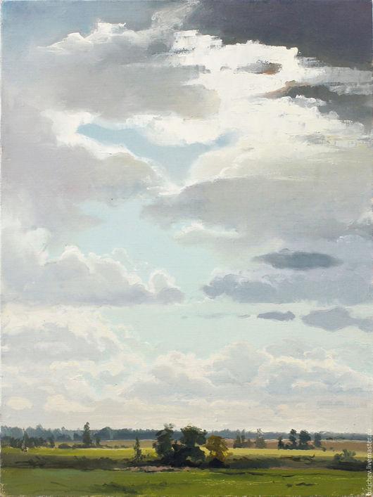 Пейзаж ручной работы. Ярмарка Мастеров - ручная работа. Купить Кучевые облака. Handmade. Голубой, облака, небо, высота, горизонт