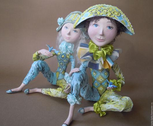 Коллекционные куклы ручной работы. Ярмарка Мастеров - ручная работа. Купить Арлекин с синей птицей. Handmade. Арлекин, трессы
