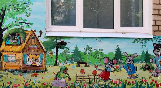 Люди, ручной работы. Ярмарка Мастеров - ручная работа. Купить Роспись стены в детском саду. Handmade. Роспись акрилом, крот