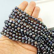 Материалы для творчества handmade. Livemaster - original item Thread Pearls Natur. Fri forms 6-7 mm AA dark (4577). Handmade.
