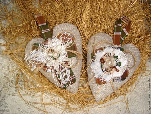 """Подвески ручной работы. Ярмарка Мастеров - ручная работа. Купить Сердечки льняные в стиле """"Рустик"""". Handmade. Подарок, лен, сердце"""