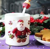 """Подарки к праздникам ручной работы. Ярмарка Мастеров - ручная работа Кружка """"Sleepy Santa"""". Handmade."""