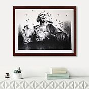 Картины и панно handmade. Livemaster - original item Black and white painting