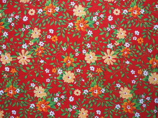 Шитье ручной работы. Ярмарка Мастеров - ручная работа. Купить Ткань красная с цветами. Handmade. Ярко-красный, ткань для рукоделия