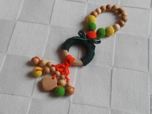 Развивающие игрушки ручной работы. Ярмарка Мастеров - ручная работа. Купить Развивающий грызунок. Handmade. Разноцветный, вяжанные бусины, комбинированный
