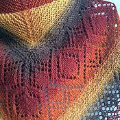 """Аксессуары ручной работы. Ярмарка Мастеров - ручная работа Шаль """"Чайно-медовая"""" из эко-шерсти Кауни, большая шаль. Handmade."""