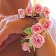 Пышный цветочный браслет.   Украшения в цветочном стиле. Украшения для праздников и торжеств. Необычные украшения в подарок. Свадебный стиль. Аксессуары для невесты.
