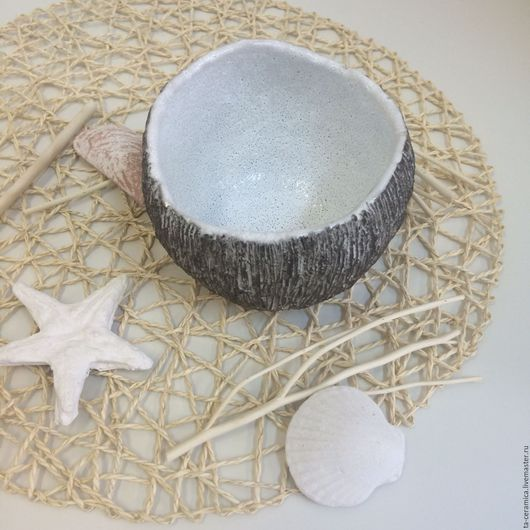 Пиалы ручной работы. Ярмарка Мастеров - ручная работа. Купить Пиала кокос. Handmade. Чёрно-белый, подарок, глазурь для пряников