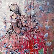 Картины и панно ручной работы. Ярмарка Мастеров - ручная работа Цикориевое поле. Handmade.