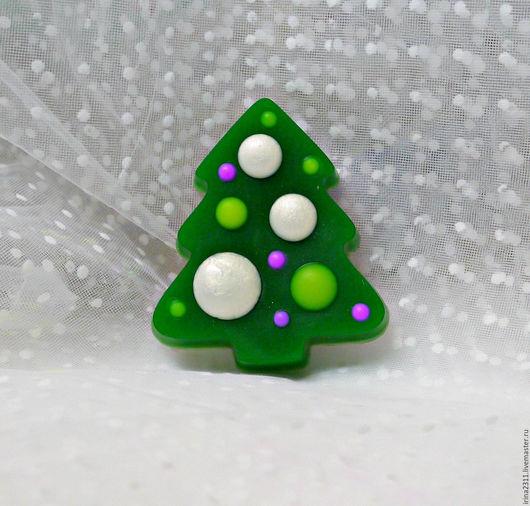 """Мыло ручной работы. Ярмарка Мастеров - ручная работа. Купить Мыло """"Ёлочка с шариками"""". Handmade. Зеленый, елка ручной работы"""