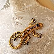 Украшения handmade. Livemaster - original item Gold embroidered brooch beaded Lizard. Handmade.
