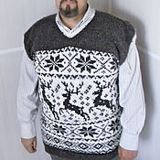 Одежда ручной работы. Ярмарка Мастеров - ручная работа Жилет вязанный  с оленями. Handmade.