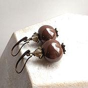 Украшения handmade. Livemaster - original item Earrings Brown rose. Ceramics.. Handmade.