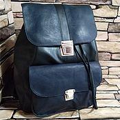 Сумки и аксессуары handmade. Livemaster - original item Backpacks: Leather backpack black and blue. Handmade.