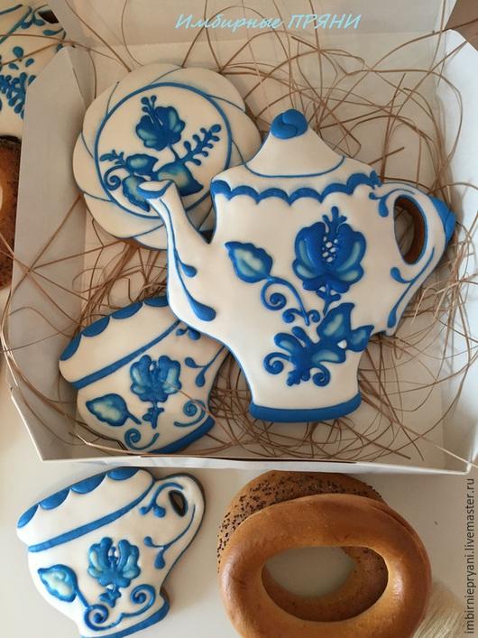 Кулинарные сувениры ручной работы. Ярмарка Мастеров - ручная работа. Купить Пряничный чайный сервиз. Handmade. Разноцветный, заварной чайник