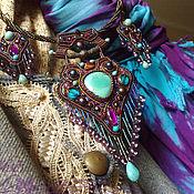 Украшения handmade. Livemaster - original item Necklace set(pendant) earrings Oriental-natural turquoise pearl beads. Handmade.