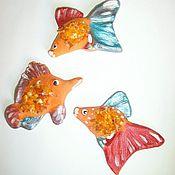 Сувениры и подарки handmade. Livemaster - original item fish magnet 3 pcs ceramic souvenir gift inexpensive fish ceramics. Handmade.