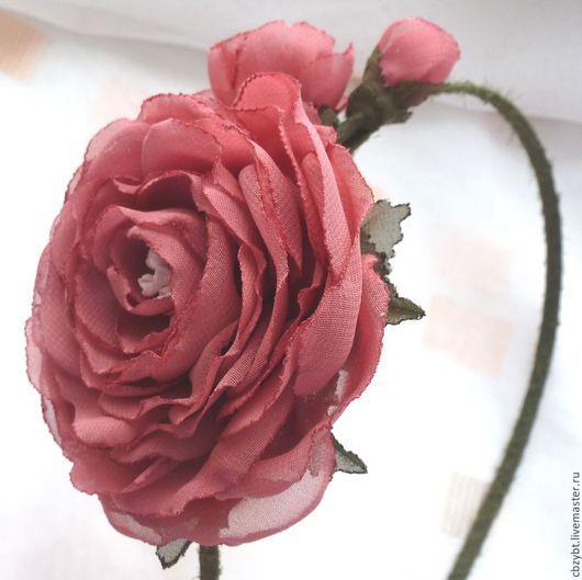 """Диадемы, обручи ручной работы. Ярмарка Мастеров - ручная работа. Купить Ободок   """" Воспоминание"""". Цветы из ткани.. Handmade. Розовый"""