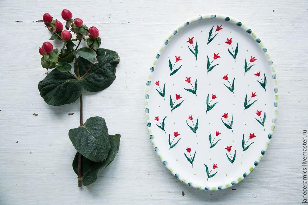 Red tyulpanyi. Serving dish, pottery, Plates, Zhukovsky,  Фото №1