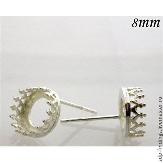 Для украшений ручной работы. Ярмарка Мастеров - ручная работа. Купить 2 пары серебряных 8мм сеттингов оправ пуссет 956328. Handmade.