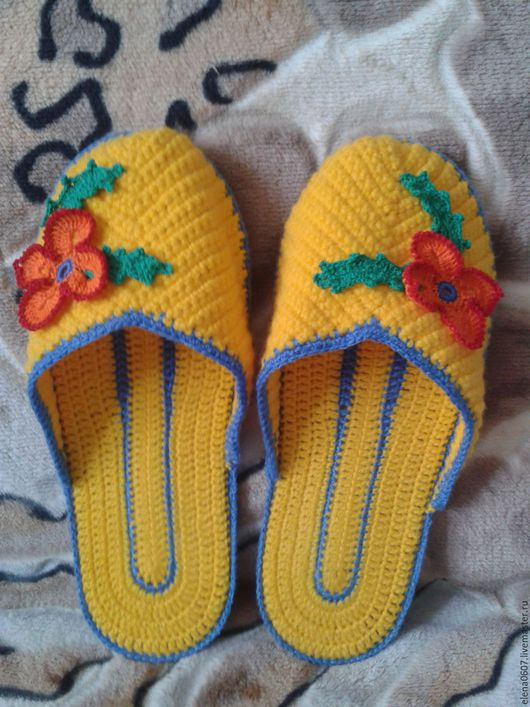 Обувь ручной работы. Ярмарка Мастеров - ручная работа. Купить Домашние тапочки ручной работы крючком. Handmade. Тапочки домашние
