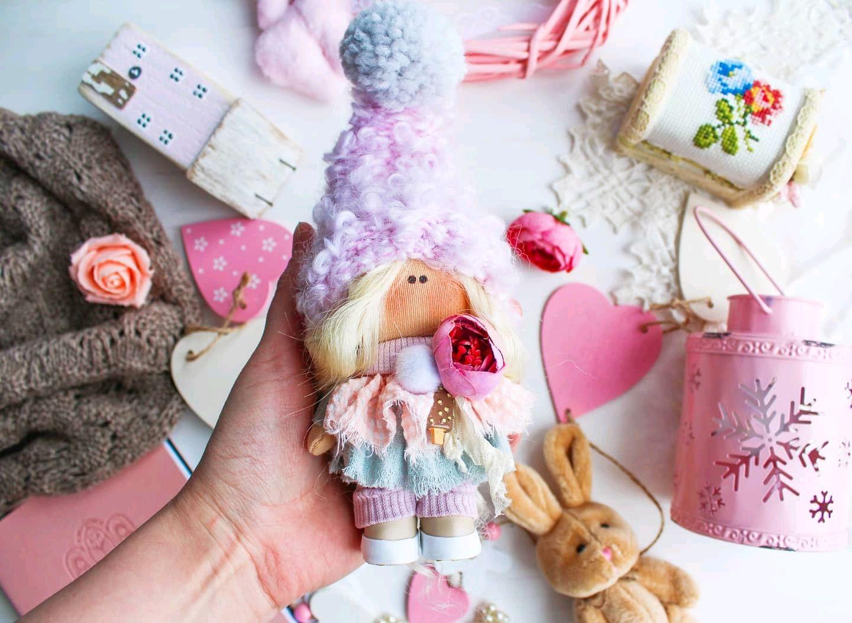 Текстильная кукла 12, 5 см куколка гномик тильда интерьерная брелок, Куклы Тильда, Видное,  Фото №1