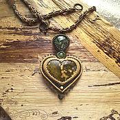 Украшения handmade. Livemaster - original item Jasper heart pendant. Seraphinite, mustard Jasper, green tourmaline. Handmade.