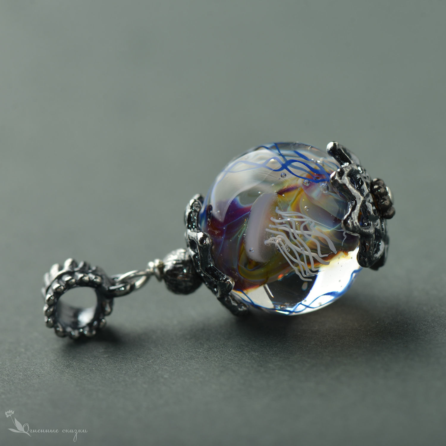 suspension: Marine sketch with two jellyfish lampwork, Pendants, Moscow,  Фото №1