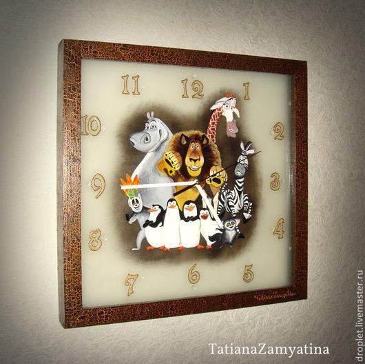 """Часы для дома ручной работы. Ярмарка Мастеров - ручная работа. Купить Часы Детские """"Мадагаскар"""". Handmade. Часы, настенные, мультфильм"""