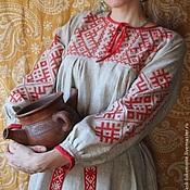 Русский стиль ручной работы. Ярмарка Мастеров - ручная работа платье с Обережной вышивкой. Handmade.