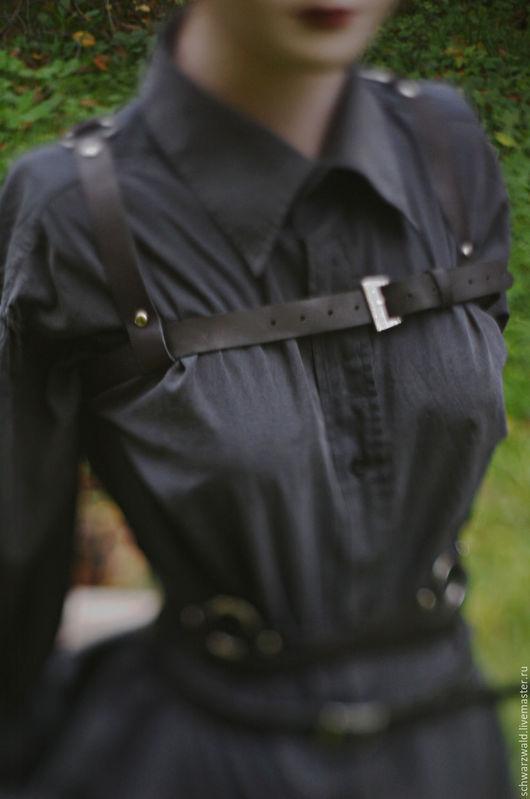 Пояса, ремни ручной работы. Ярмарка Мастеров - ручная работа. Купить Портупея с кельтским плетением на спине. Handmade. Черный