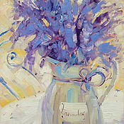 handmade. Livemaster - original item oil painting on canvas with stretcher. Lavender in the jar.. Handmade.
