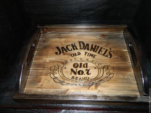 Кухня ручной работы. Ярмарка Мастеров - ручная работа. Купить поднос Jack Daniels. Handmade. Коричневый, браширование