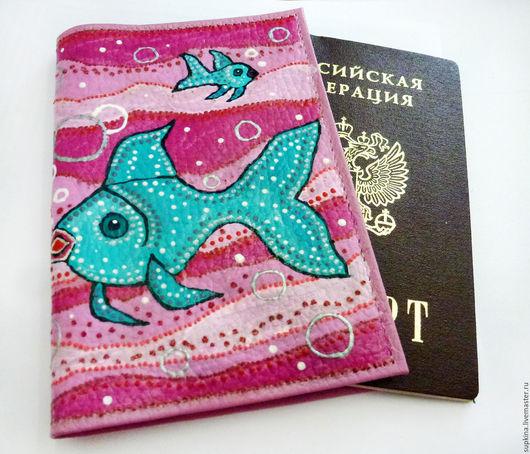 обложка на загранпаспорт, купить обложку на паспорт, море, что подарить на годовщину кожаной свадьбы