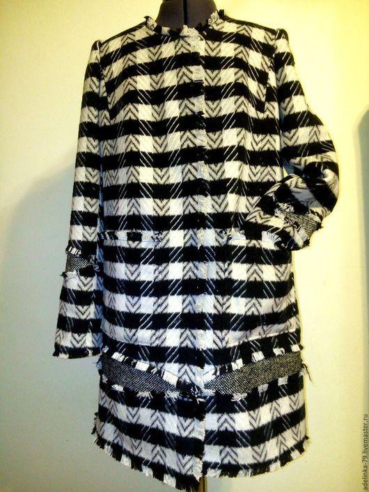 """Верхняя одежда ручной работы. Ярмарка Мастеров - ручная работа. Купить Пальто """"Шахматы"""". Handmade. Чёрно-белый, теплое пальто"""